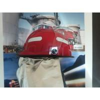 Casca pompieri rosie cu vizor si guler aluminizat EN443