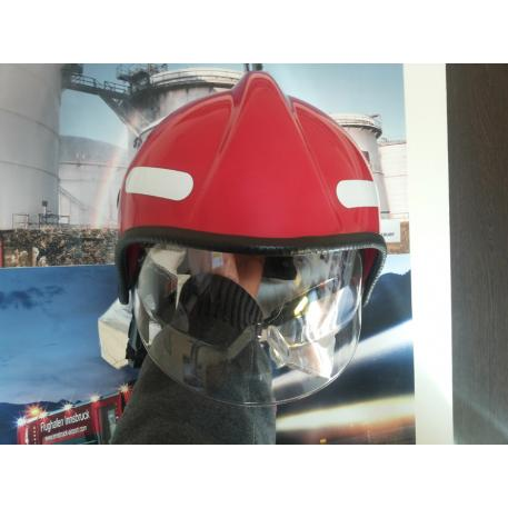 Casca pompieri cu vizor si guler aluminizat EN443 RED
